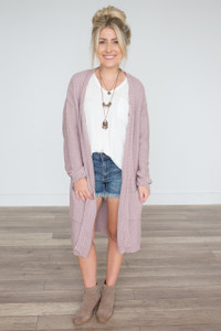 Open Knit Midi Pocket Cardigan - Mauve