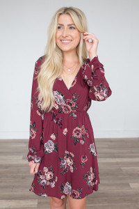 Floral Print Wrap Front Dress - Burgundy