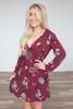 Floral Print Wrap Front Dress - Burgundy