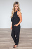 Casablanca Keyhole Back Jumpsuit - Black