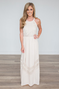 Crochet Lace Maxi Dress - Cream