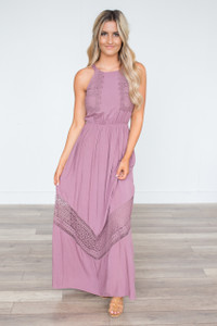 Crochet Lace Maxi Dress - Dusty Orchid