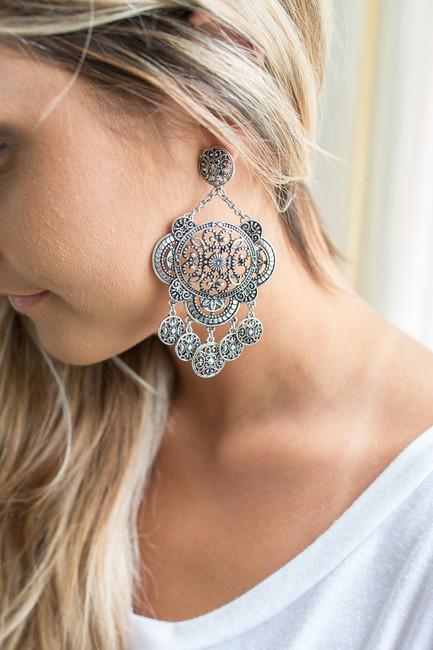 Barcelona Chandelier Earrings - Silver
