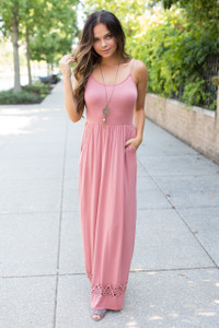 Spaghetti Strap Cutout Maxi Dress - Rose