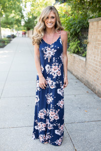 Floral Print Maxi Dress - Navy Multi