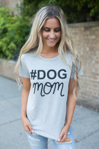#Dog Mom Graphic Tee - Grey