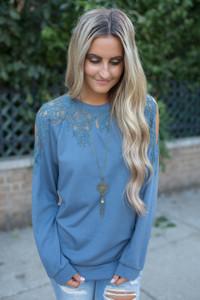 Lace Contrast Sweater - Dusty Blue