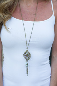 Medallion Pendant Tassel Necklace - Gold