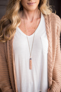 All That Glitters Tassel Necklace - Blush/Gold