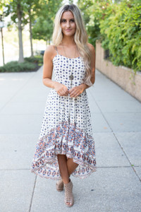 Boho High Low Maxi Dress - Ivory Multi