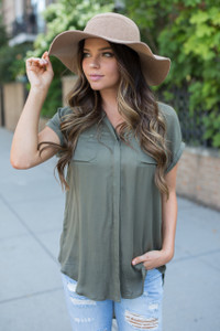 High Low Button Down Blouse - Olive