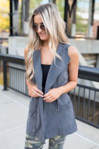 Hooded Drawstring Pocket Vest - Charcoal