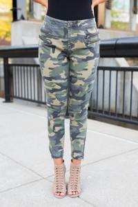 Zipper Detail Camo Pants - Green Multi