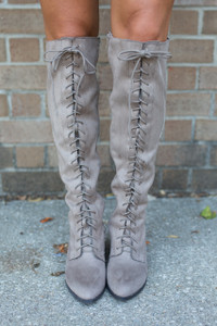 Lace Up Knee High Boots - Taupe