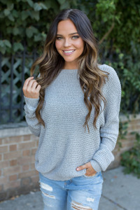 Strap Back Open Knit Sweater - Grey