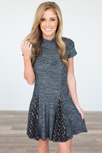 Mock Neck Lace Panel Dress - Charcoal
