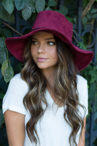 Suede Floppy Hat - Burgundy