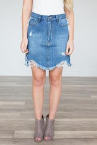 Distressed Denim Skirt - Medium Wash