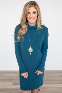 Everly Keyhole Back Sweater Dress - Teal