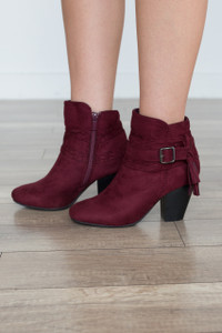 Love Song Tassel Booties - Wine