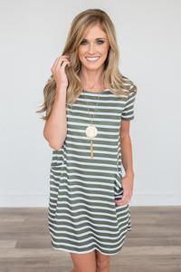 Striped Pocket Dress - Olive/White