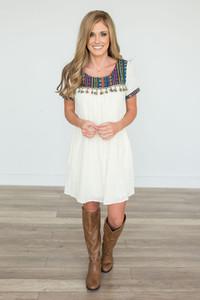 Baja Tassel Contrast Dress - Cream Multi