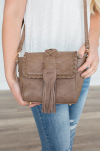 Braided Tassel Crossbody Bag - Taupe