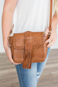 Braided Tassel Crossbody Bag - Tawny