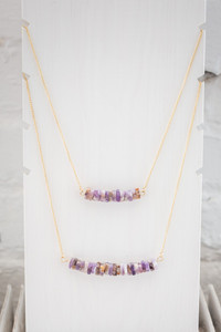 Layered Stone Necklace - Purple Multi