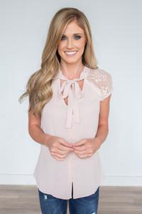 Button Down Lace Blouse - Blush