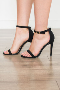 Suede Ankle Strap Heels - Black