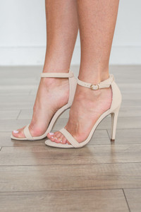 Suede Ankle Strap Heels - Beige