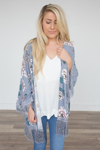 Floral Print Fringe Kimono - Light Grey -  FINAL SALE