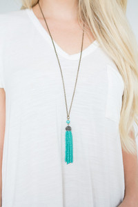All That Glitters Tassel Necklace - Teal/Gold