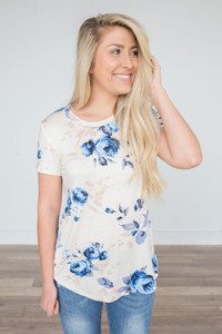 Floral Print Tee - Ivory/Blue - FINAL SALE