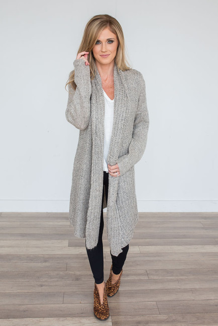 Open Knit Long Cardigan - Taupe Multi