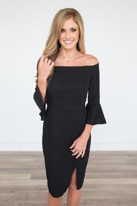 Off the Shoulder Peplum Sleeve Dress - Black - FINAL SALE