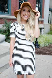 Nantucket Striped Dress - White/Black - FINAL SALE