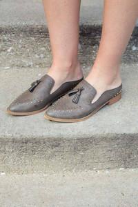 Studded Tassel Mule Loafer - Grey
