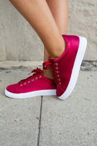 Rockette Satin Sneakers - Ruby Red