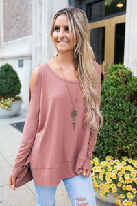 Long Sleeve Cold Shoulder Tunic - Sienna - FINAL SALE
