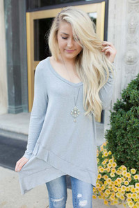 V-Neck Layered Tunic - Heather Slate - FINAL SALE