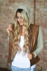 Faux Leather Sweater Detail Jacket - Camel
