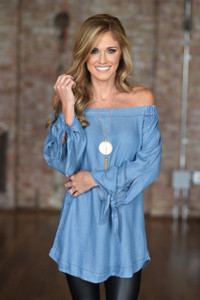 Off the Shoulder Chambray Tunic - Blue