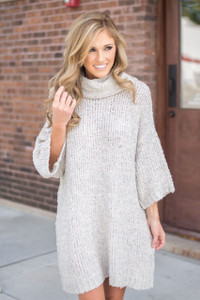 Cowl Neck Sweater Dress - Oatmeal
