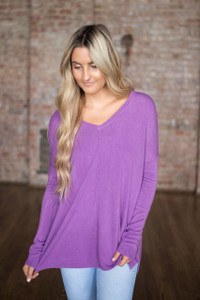 Cozy V-Neck Sweater - Orchid - FINAL SALE