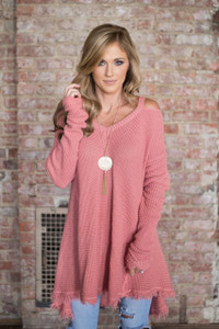 Cold Shoulder Waffle Knit Tunic - Coral