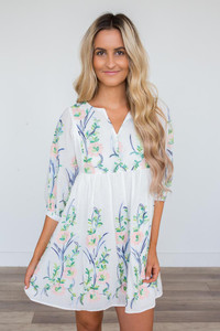 Floral Embroidered Dress - White Multi