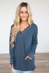 V-Neck Lace Detail Tunic -  Dark Teal