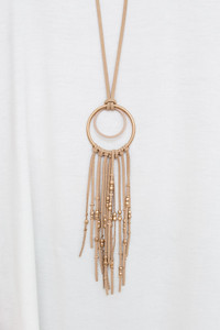 Beaded Tassel Necklace - Tan
